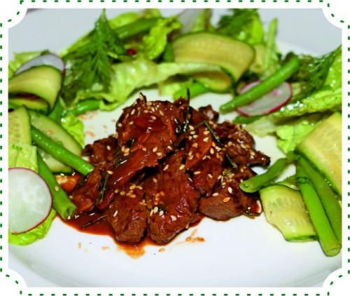 Теплый салат с ягненком