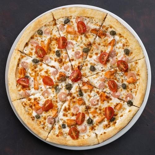 Пицца Калифорния с копченным лососем и креветками 32см