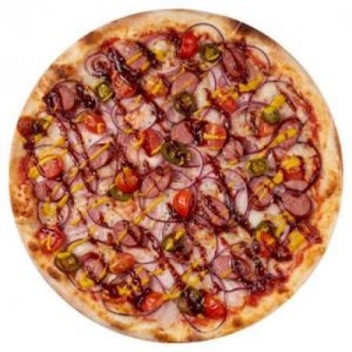 Пицца с копчёными колбасками 45см